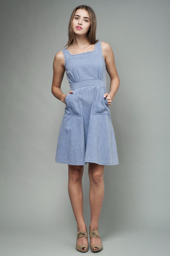 "vintage 70s pinafore dress blue chambray stripes XS S (34"" bust)"