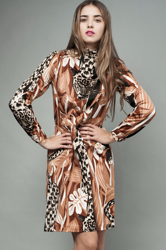 "vintage 70s dress animal print kitschy tiger brown long sleeves S (26"" waist)"