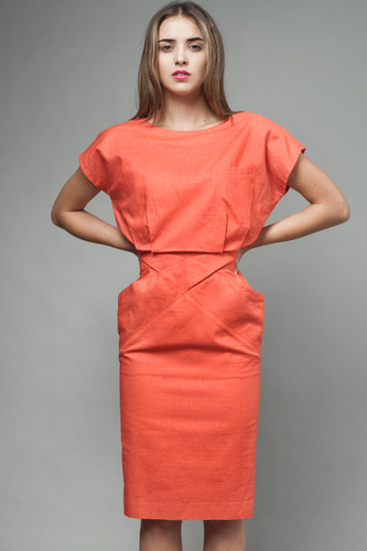 "vintage 80s origami pocket dress pencil skirt orange red S (26"" waist)"