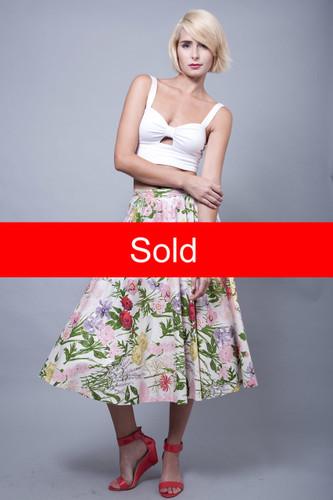 "vintage 50s skirt full circle midi floral Jerry Gilden Spectator rhinestones M (27.5"" waist)"