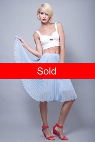 "accordion pleat skirt sheer baby blue silk flowy pleats S M (28"" waist)"