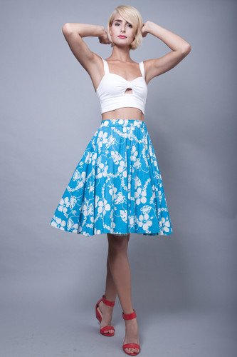 vintage 70s cotton circle skirt handmade floral blue white Hawaiian M L XL