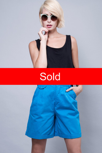 "highwaisted shorts vintage 90s high waist bright blue pleated cuffed S (27"" waist)"