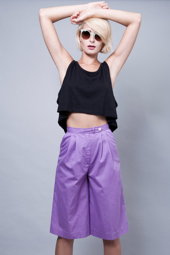 "vintage 80s purple culottes shorts high waisted pleated XS S (25"" waist)"
