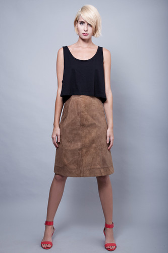 "vintage 70s suede skirt brown a-line plush soft XS S (26"" waist)"