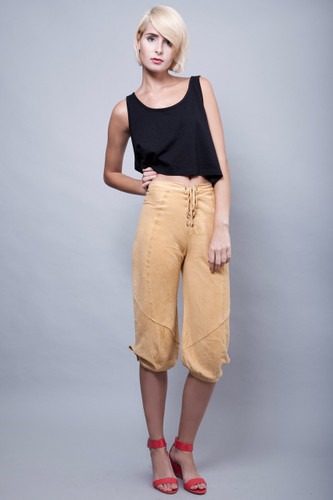 "vintage 70s yellow suede pants lace front hippie boho S M (27"" waist)"