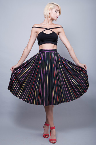 "vintage 50s full circle pleated skirt stripes colorful black Modern Jr Gale & Gale S (26"" waist)"