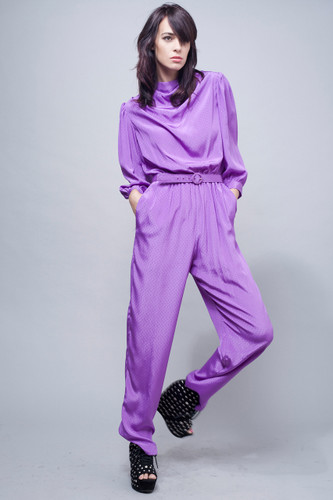 vintage 80s jumpsuit purple satin diamond jacquard slinky cowl neck puff sleeves ONE SIZE