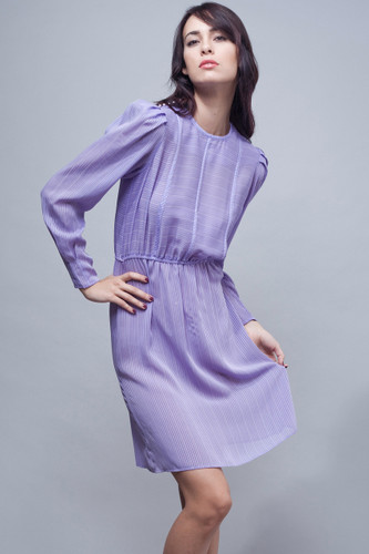 vintage 70s secretary dress sheer purple stripes long sleeves XS S M