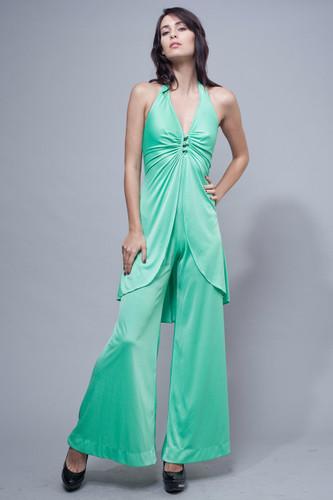 "vintage 70s jumpsuit disco green halter slinky flare legs S (25"" waist)"