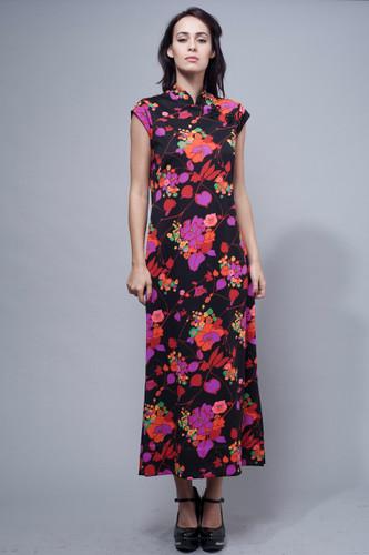 vintage 70s maxi Mandarin dress Chinoiserie Chinese Cheongsam