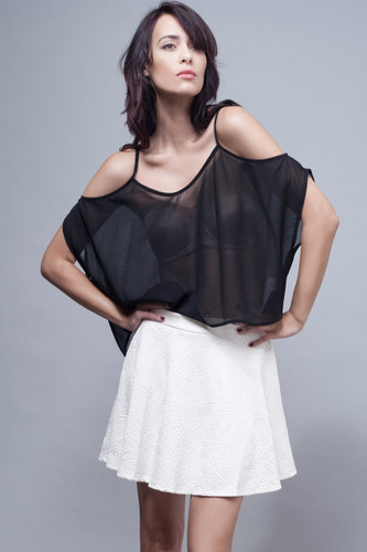 sheer black draped strappy top open shoulders S M L