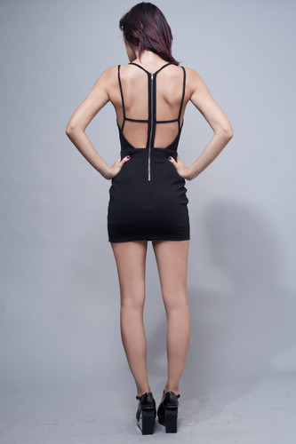bodycon dress black mesh zipper back S M L