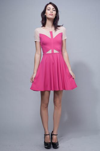 skater dress pink fuschia cutout illusion lace S M L
