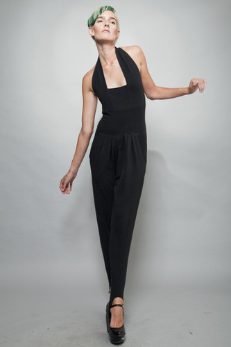 vintage 80s stirrup jumpsuit black stretchy halter pleated M L