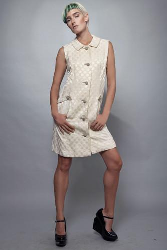 "vintage 1960s dress MOD ivory circle jacquard rhinestone buttons M (37"" bust)"