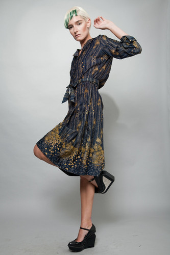 vintage 70s LANVIN shirt dress ethereal floral navy blue yellow gold L XL