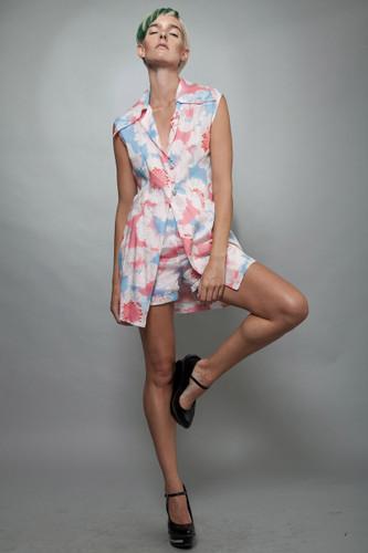 """vintage 1960s MOD 2-piece shorts top set pink floral M (28"""" waist)"""
