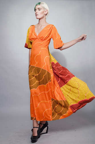 vintage 70s kaftan maxi dress orange empire waist Hawaiian M L