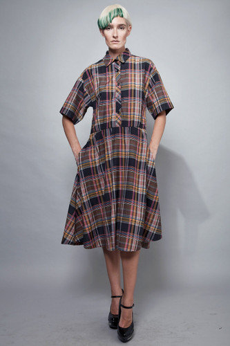 "vintage 50s shirtwaist day dress cotton blend plaid L XL (42"" bust)"