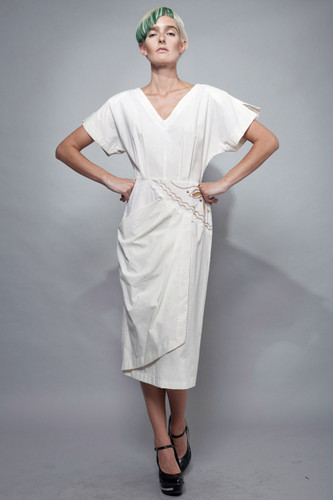 "vintage 80s day dress cotton origami pleated pocket open back white M (28"" waist)"