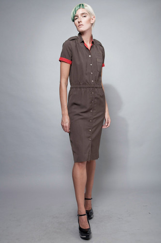 "vintage 70s shirtwaist safari dress khaki red midi S (38"" hips)"