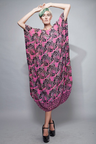 vintage ethnic kaftan batik dress pink maxi ONE SIZE