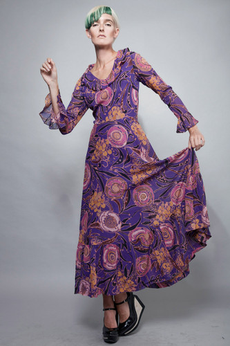 "vintage 70s maxi batik dress purple long sleeves ruffles M (27"" waist)"