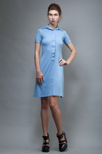 vintage 70s LANVIN polo shirt dress blue logo XS S