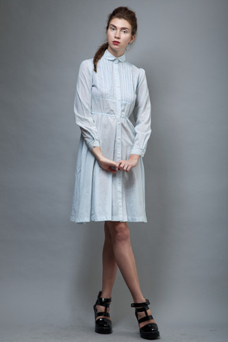 vintage 70s dress shirtdress baby blue pintuck full skirt S M