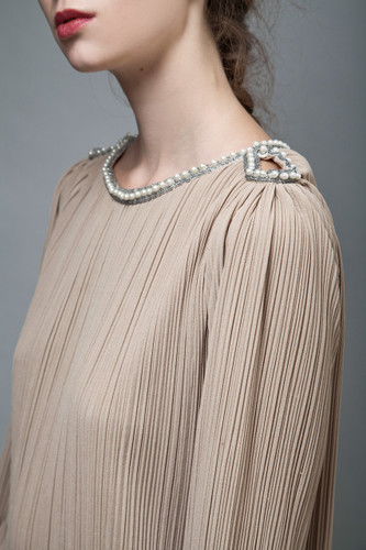 vintage 70s dress fortuny pleats taupe brown keyhole pearls ONE SIZE