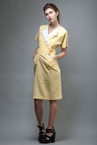 vintage 80s pocket dress yellow white lace collar M