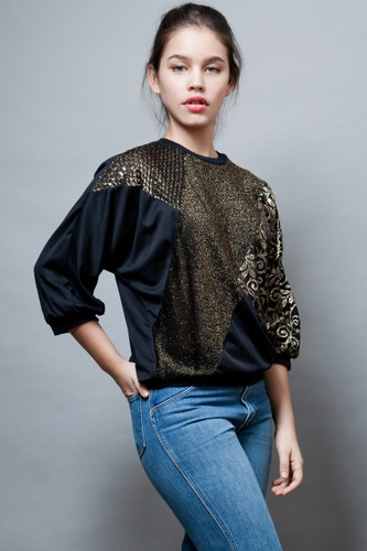 vintage 80s top blouse lurex metallic black gold batwing ONE SIZE  :