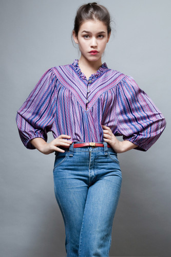 vintage 70s top hippie boho ruffles purple stripes hippie boho PLUS SIZE 1X 2X 3X