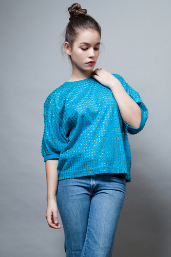 vintage 80s top blue turquoise sequinned sequins oversized ONE SIZE