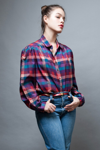 vintage 70s blouse top plaid print long sleeves XL