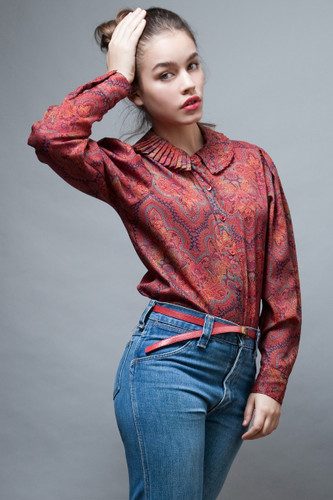 vintage 70s blouse top Levi Strauss red pleated collar L