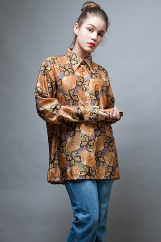 vintage clothing online 70s disco shirt men gold print pointy collar XL 1X