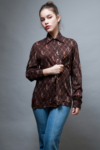 vintage clothing online 70s disco shirt top brown paper thin pointy collar L