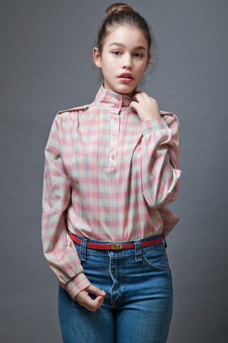 vintage clothing online 70s shirt pink plaid safari metallic high collar M