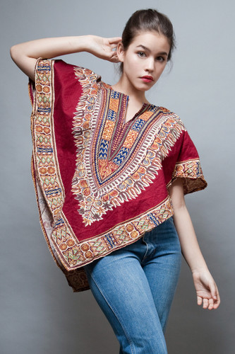 vintage clothing online 70s hippie boho top traingle ethnic cotton burgundy red ONE SIZE