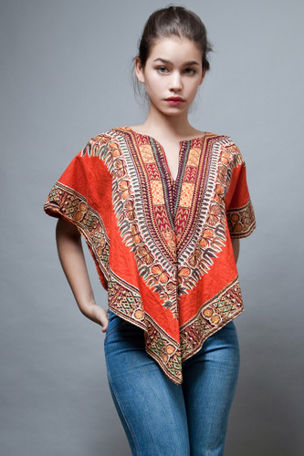 vintage clothing online 70s hippie boho top traingle ethnic cotton orange ONE SIZE