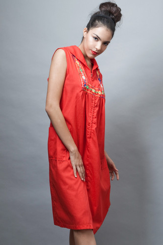 vintage 70s house dress red embroidered sleeveless pocket PLUS SIZE 2X