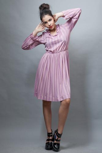 vintage 1970s secretary dress pink textured stripes ruffles L XL
