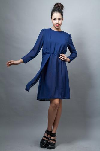 vintage 70s secretary dress sheer navy blue pleated PLUS SIZE XL 1X