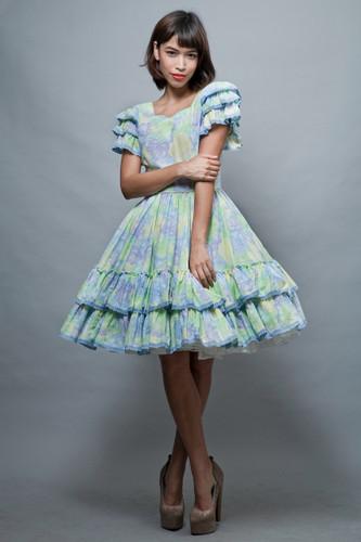 Harajuku Lolita square dance dress vintage 70s pastel full circle skirt blue yellow floral ruffles L  :