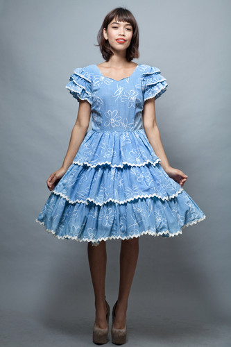 Harajuku Lolita square dance dress L large vintage 70s blue white floral ruffles layers tiered   :