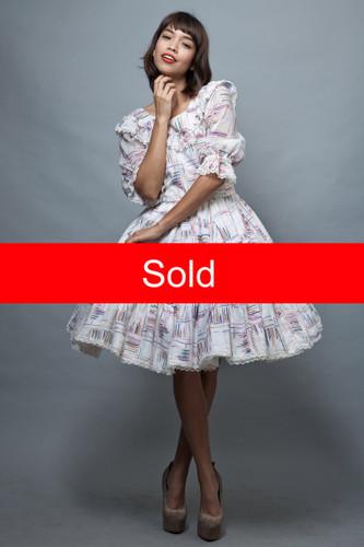 Harajuku Lolita square dance dress L large vintage 70s white gauzy gauze cotton colorful print ruffles   :