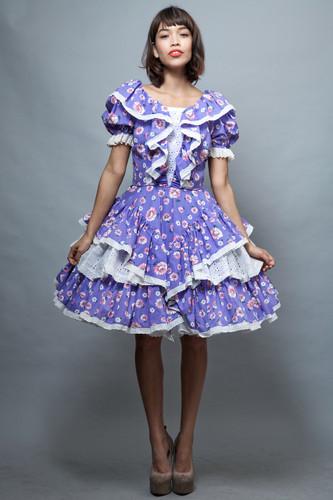 Harajuku Lolita square dance dress L large vintage 70s purple floral tiered ruffles layers eyelet