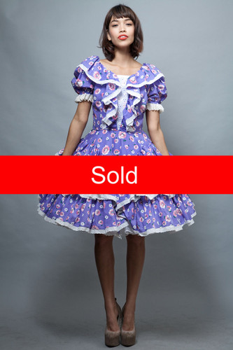 Harajuku Lolita square dance dress L large vintage 70s purple floral tiered ruffles layers eyelet